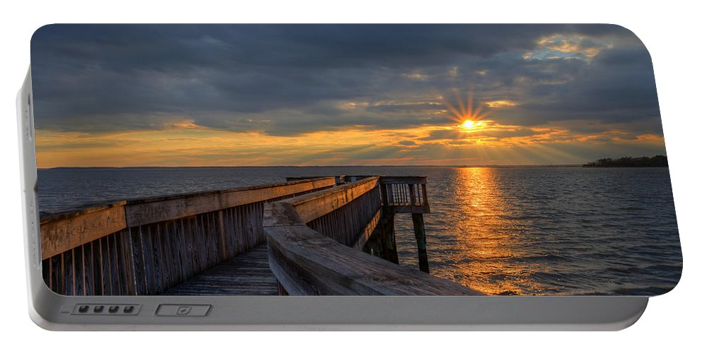 Riverview Farm Park Portable Battery Charger featuring the photograph James River Sunset Riverview Pier by Jerry Gammon