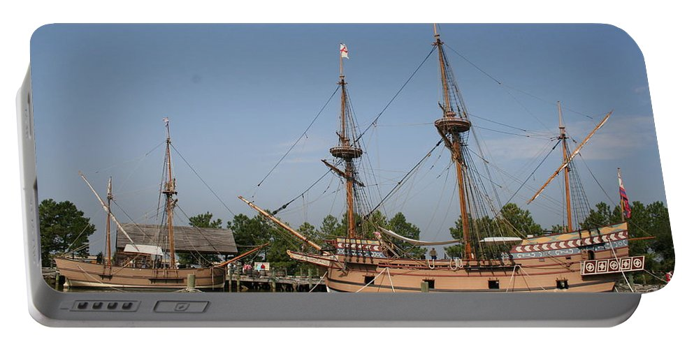 Ship Portable Battery Charger featuring the photograph Jamestown Historic Sailingships by Christiane Schulze Art And Photography
