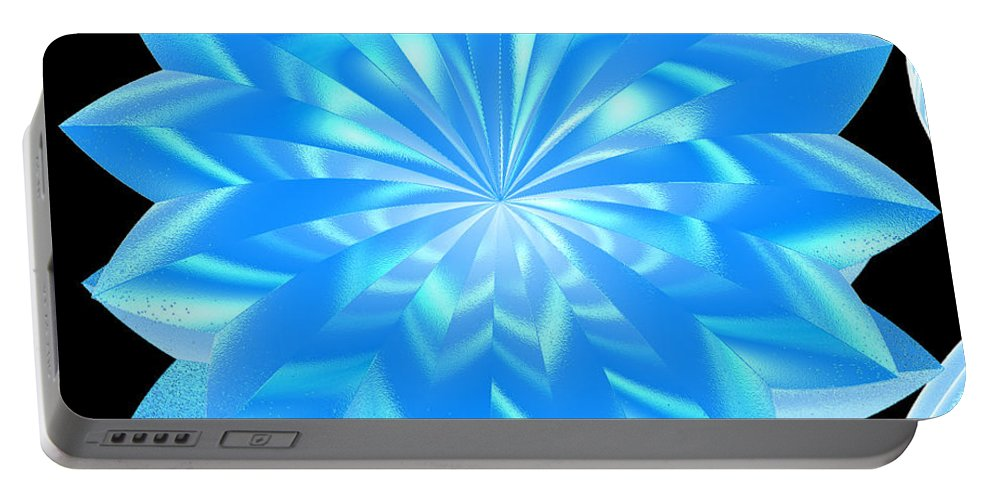 First Star Art Portable Battery Charger featuring the digital art jammer Blue Shimmer Lotus by First Star Art