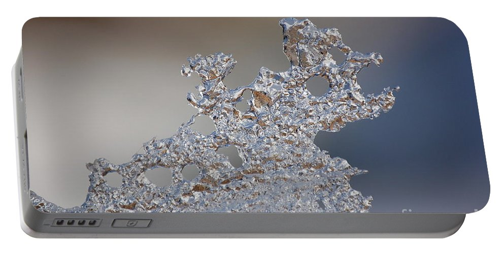 Fractal Ice Portable Battery Charger featuring the photograph Jammer Fractal Ice 001 by First Star Art
