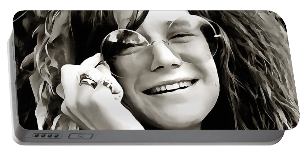 Janis Joplin Portable Battery Charger featuring the digital art Janis by Dan Sproul