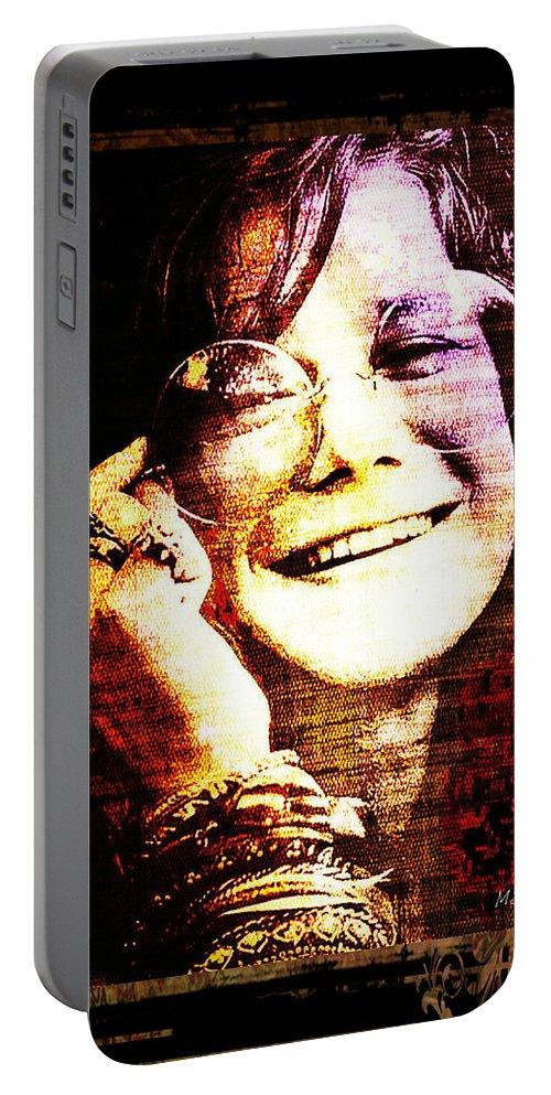 Janis Joplin Portable Battery Charger featuring the digital art Janis Joplin - Upclose by Absinthe Art By Michelle LeAnn Scott