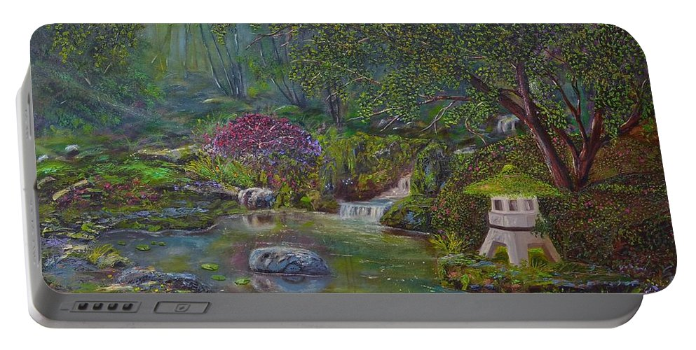 Clouds Portable Battery Charger featuring the painting Japanese Garden by Michael Mrozik