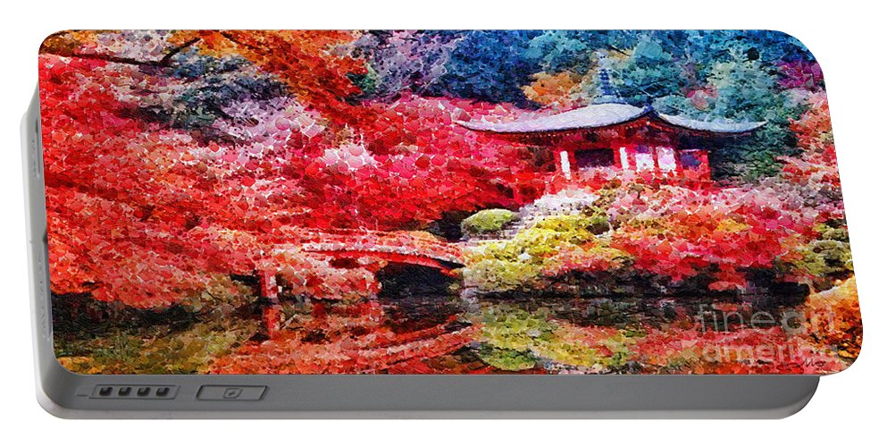 Japanese Garden Portable Battery Charger featuring the painting Japanese Garden by Mo T