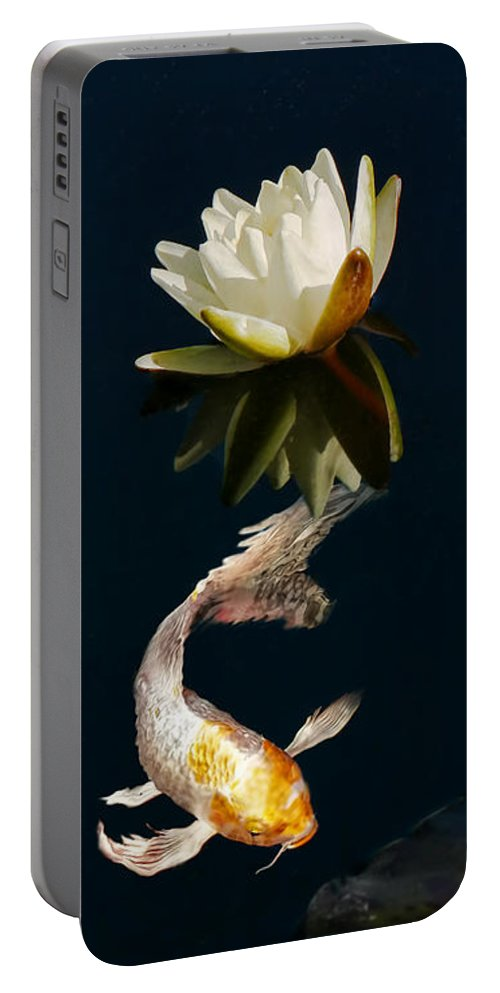 Koi Portable Battery Charger featuring the photograph Japanese Koi Fish And Water Lily Flower by Jennie Marie Schell