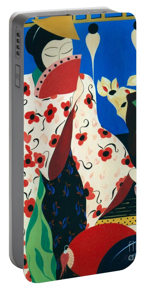 #japanese Portable Battery Charger featuring the painting Japanese Tea by Jacquelinemari