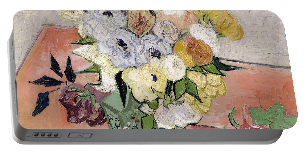1890 Portable Battery Charger featuring the painting Japanese Vase With Roses And Anemones by Vincent van Gogh