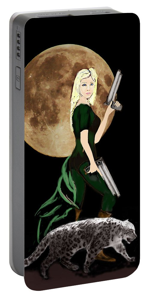Fantasy Art Portable Battery Charger featuring the photograph Jasmine and the Snow Leopard by Tom Conway