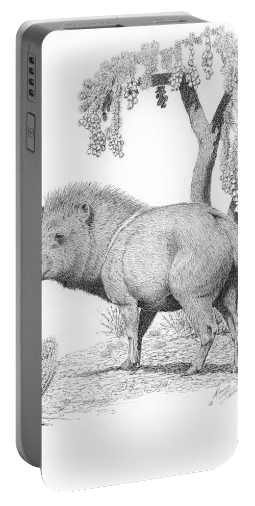 Javelina Portable Battery Charger featuring the drawing Javelina by Darcy Tate