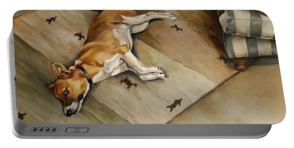 Dog Portable Battery Charger featuring the painting Jazz - Detail From Nomsa And Jazz by Jolante Hesse