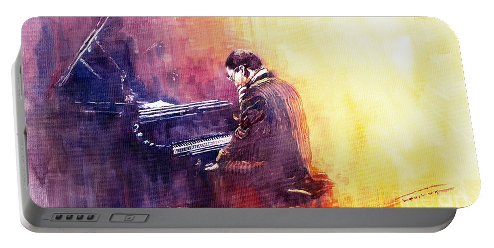 Jazz Portable Battery Charger featuring the painting Jazz Herbie Hancock by Yuriy Shevchuk
