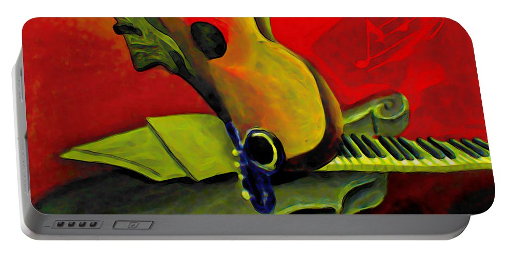 Abstract Portable Battery Charger featuring the painting Jazz Infusion by Fli Art