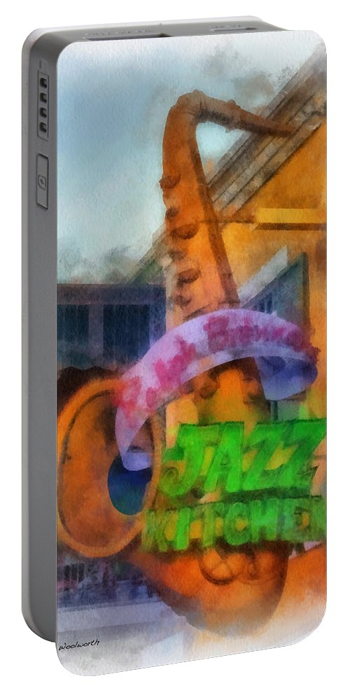 Disney Portable Battery Charger featuring the photograph Jazz Kitchen Signage Downtown Disneyland Photo Art 01 by Thomas Woolworth