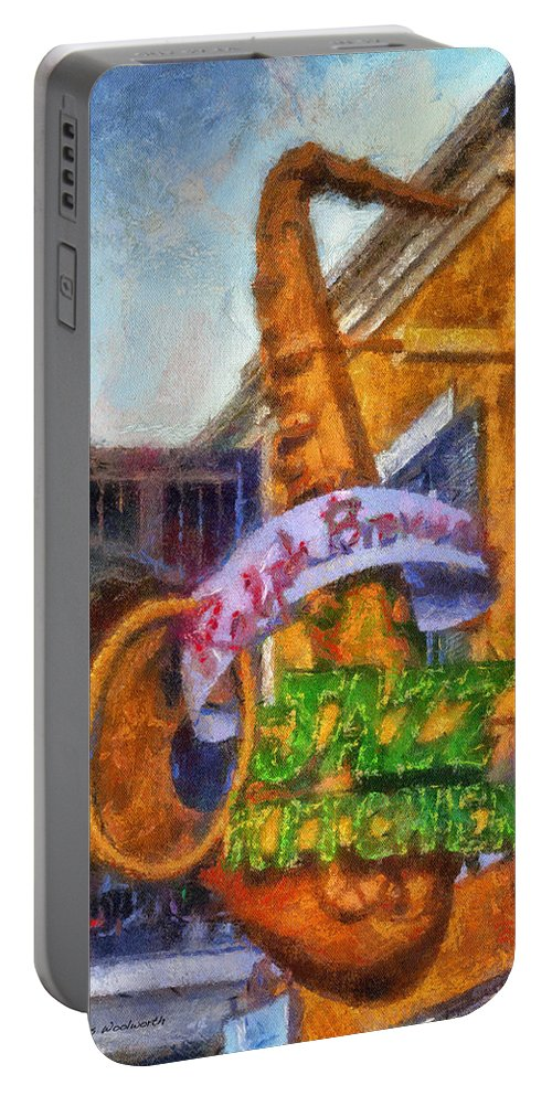 Disney Portable Battery Charger featuring the photograph Jazz Kitchen Signage Downtown Disneyland Photo Art 02 by Thomas Woolworth