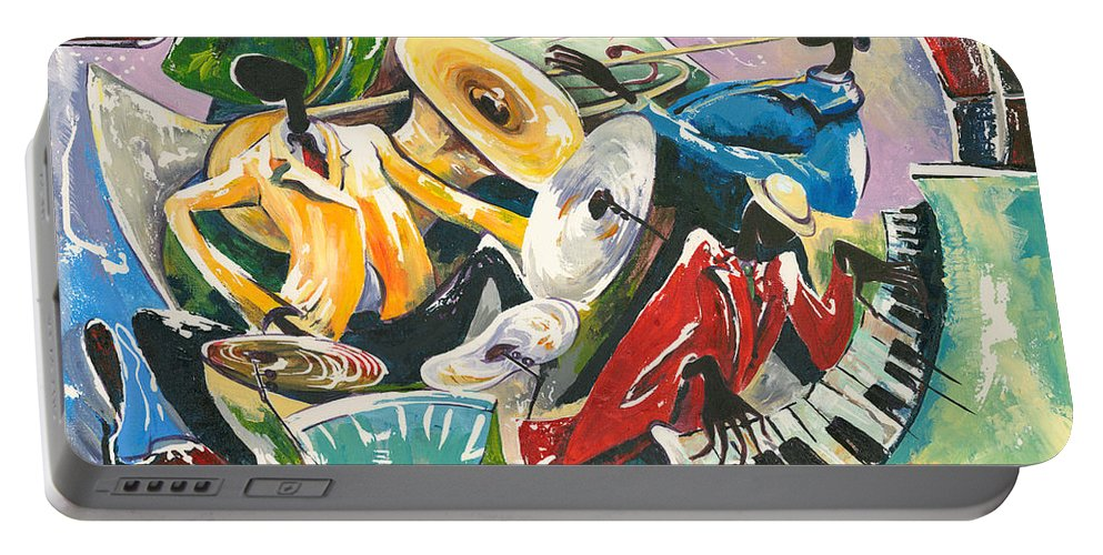 Canvas Prints Portable Battery Charger featuring the painting Jazz No. 3 by Elisabeta Hermann