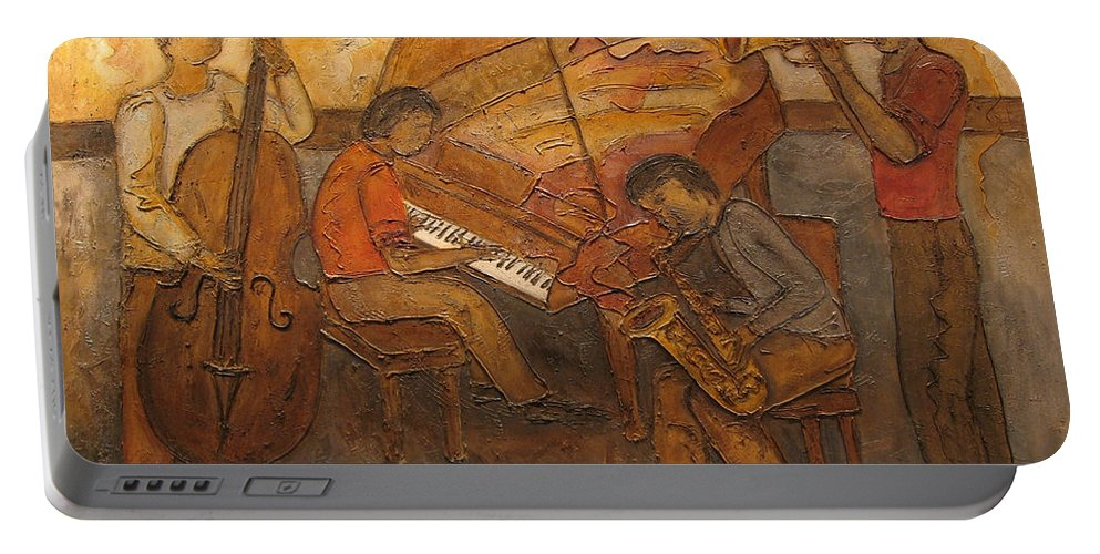 Impressionist Portable Battery Charger featuring the painting Jazz Quartet by Anita Burgermeister