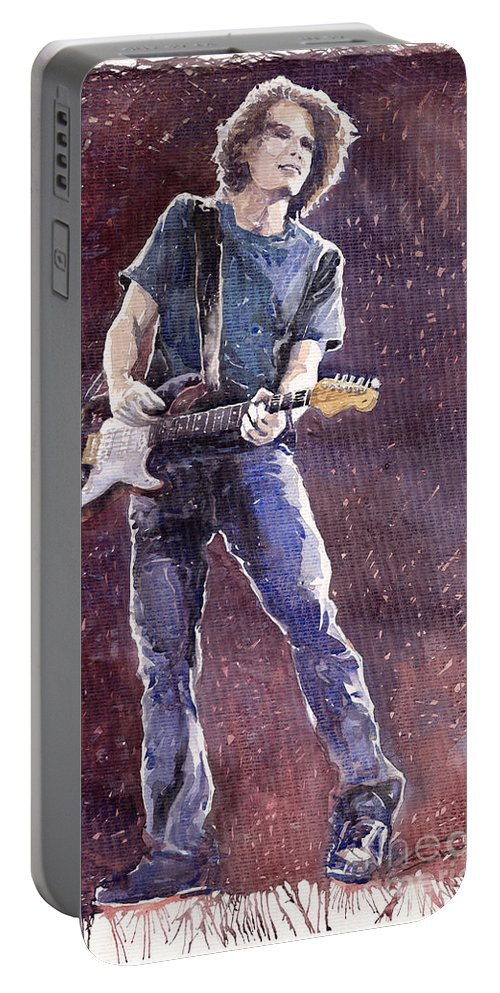 Jazz Portable Battery Charger featuring the painting Jazz Rock John Mayer 01 by Yuriy Shevchuk