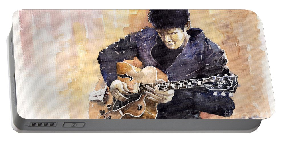 Gutarist Impressionist Instrument Jazz John Legend Mayer Music Musician Portret Rock Watercolour Portable Battery Charger featuring the painting Jazz Rock John Mayer 02 by Yuriy Shevchuk