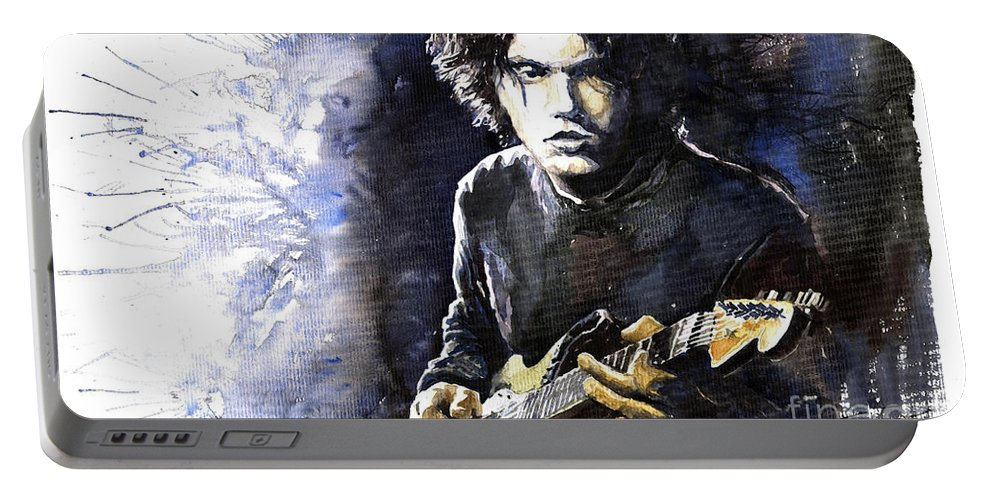 Jazz Portable Battery Charger featuring the painting Jazz Rock John Mayer 03 by Yuriy Shevchuk