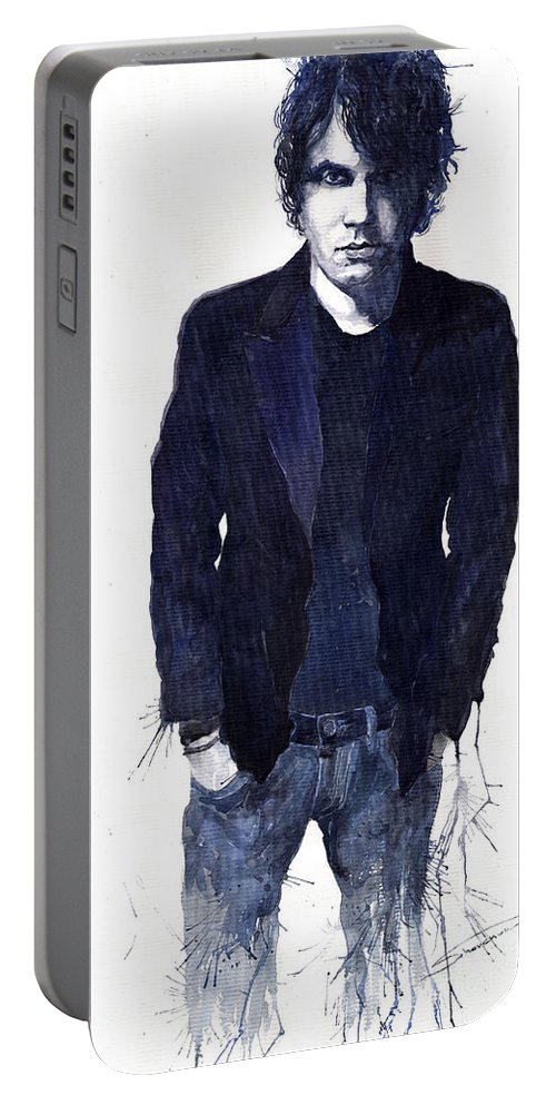 Jazz Portable Battery Charger featuring the painting Jazz Rock John Mayer 07 by Yuriy Shevchuk