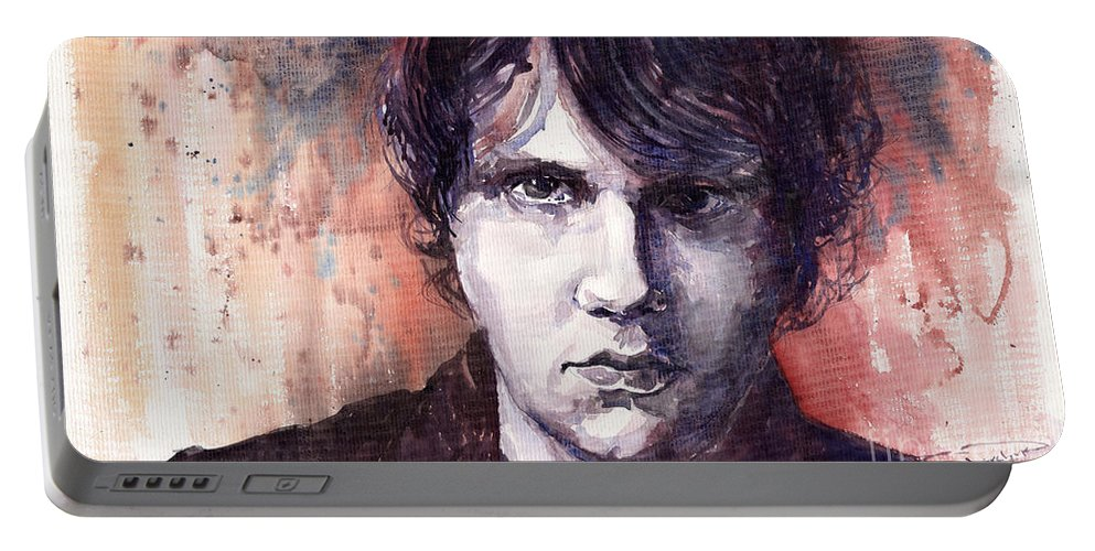 Jazz Portable Battery Charger featuring the painting Jazz Rock John Mayer by Yuriy Shevchuk