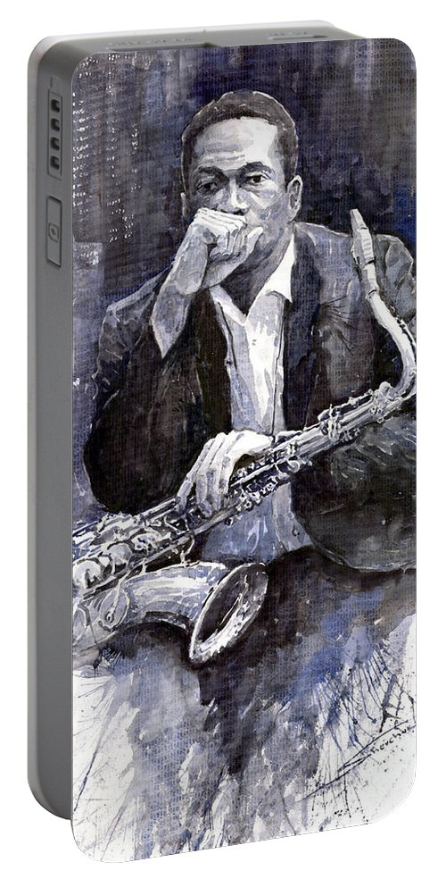 Jazz Portable Battery Charger featuring the painting Jazz Saxophonist John Coltrane black by Yuriy Shevchuk