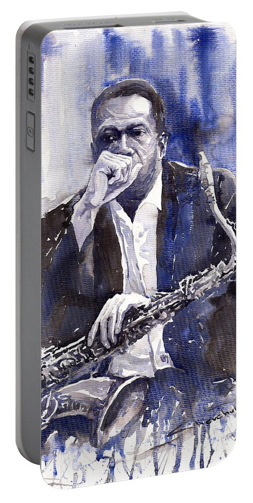 Jazz Portable Battery Charger featuring the painting Jazz Saxophonist John Coltrane Blue by Yuriy Shevchuk