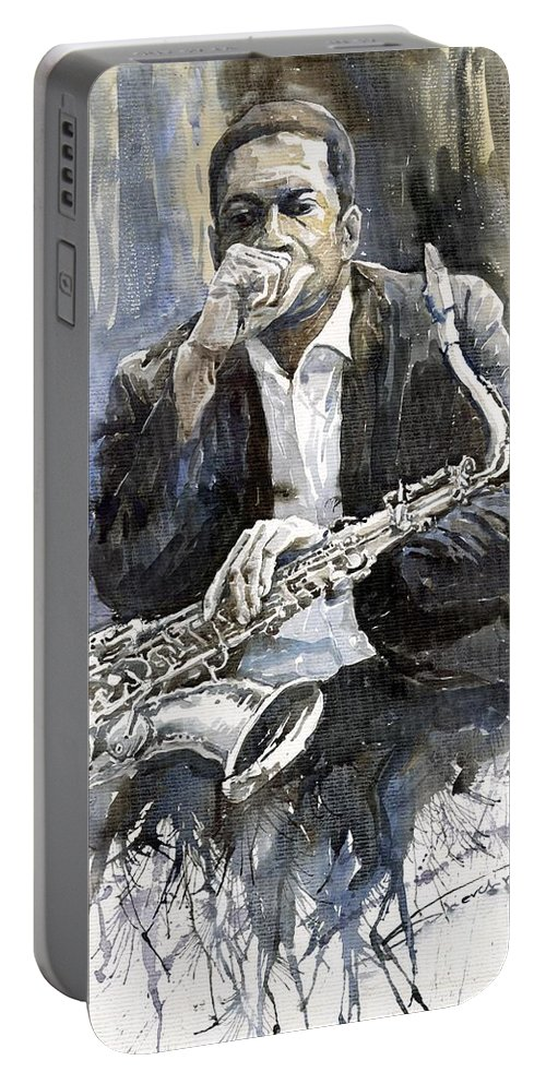 Jazz Portable Battery Charger featuring the painting Jazz Saxophonist John Coltrane Yellow by Yuriy Shevchuk