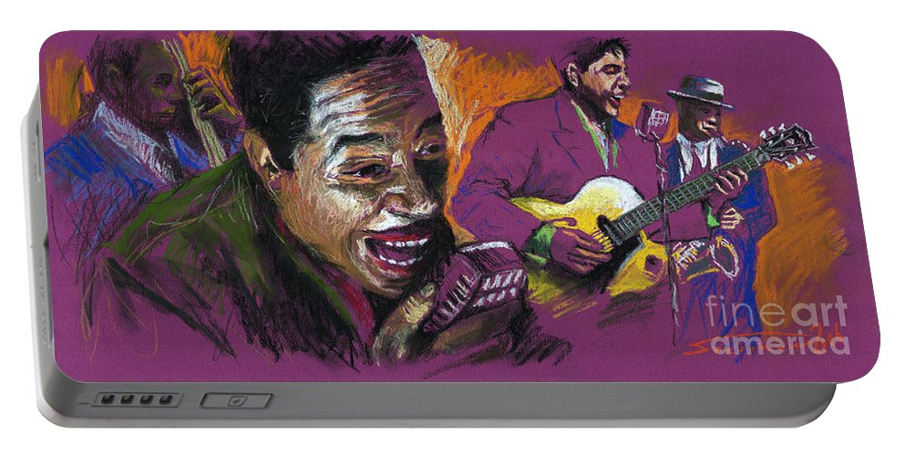 Jazz Portable Battery Charger featuring the pastel Jazz Songer by Yuriy Shevchuk
