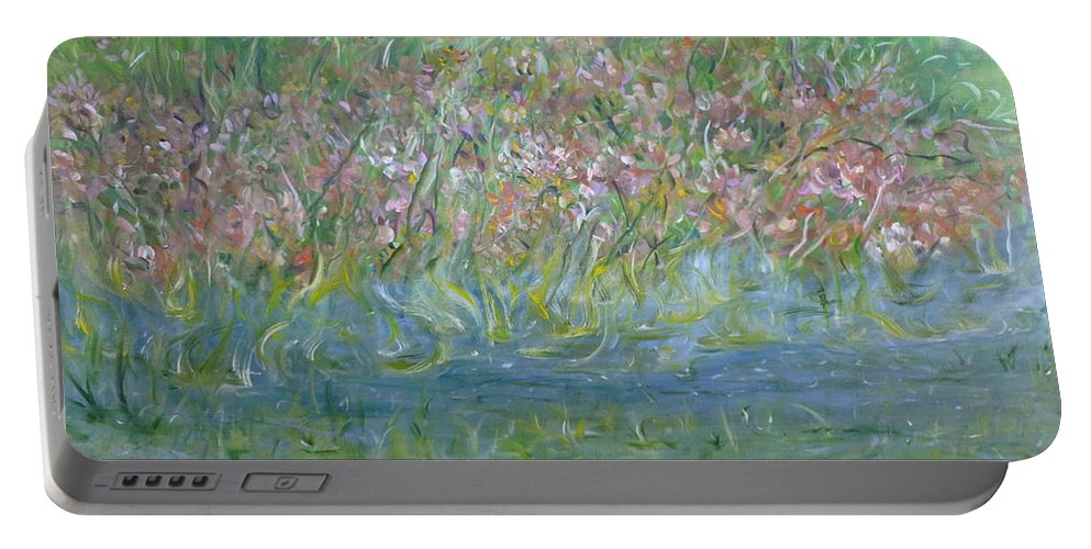 Whimsical Landscape Scene Portable Battery Charger featuring the painting je t'aime Monet by Sara Credito
