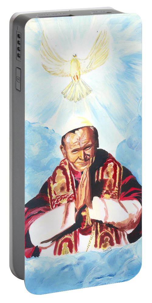 Religion Portable Battery Charger featuring the painting Jean Paul II by Emmanuel Baliyanga