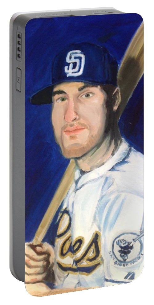 Jedd Portable Battery Charger featuring the painting Jedd Gyorko by Jeremy Nash