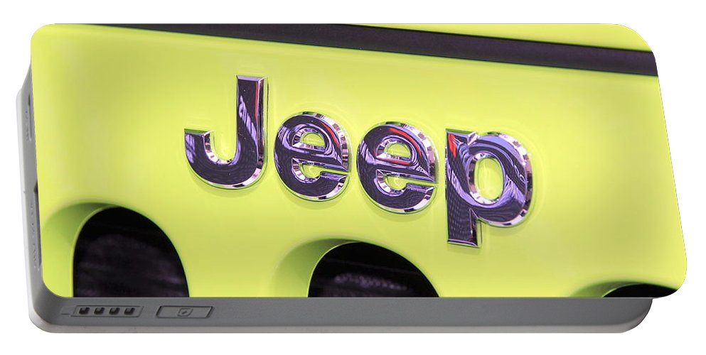 Jeep Portable Battery Charger featuring the photograph Jeep Logo by Valentino Visentini
