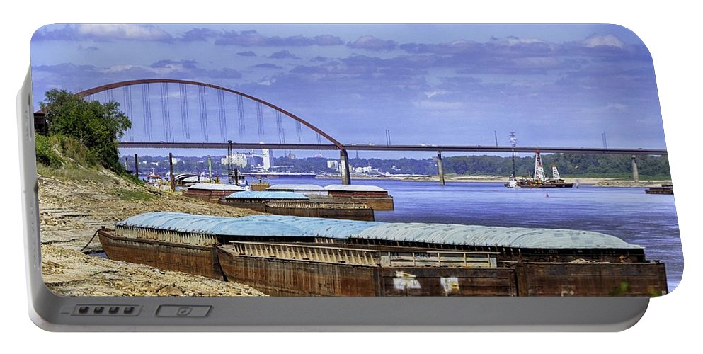 St Louis Picture Portable Battery Charger featuring the photograph Jefferson Barracks Bridge A View From Cliff Cave by Peggy Franz