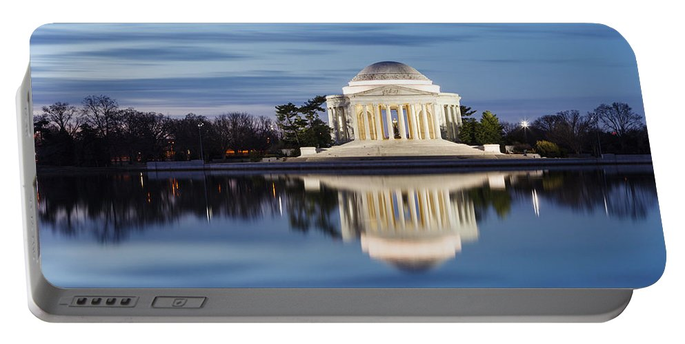 Thomas Jefferson Memorial Portable Battery Charger featuring the photograph Washington Dc Jefferson Memorial In Blue Hour by Carol VanDyke