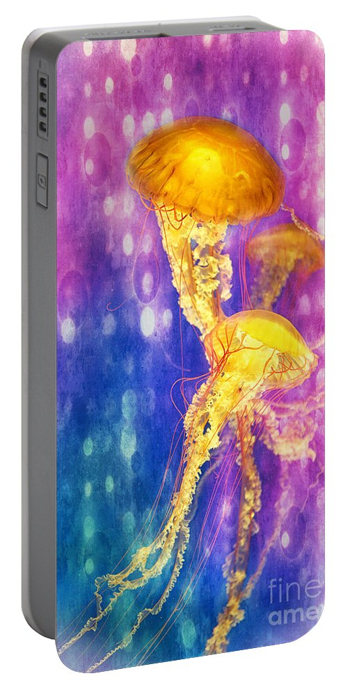 Jelly Fish Portable Battery Charger featuring the photograph Jelly Fish Dance by Erika Weber
