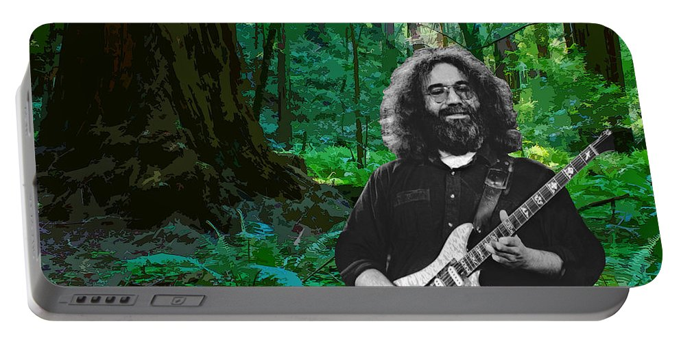 Jerry Garcia Portable Battery Charger featuring the photograph J G In Muir Woods by Ben Upham