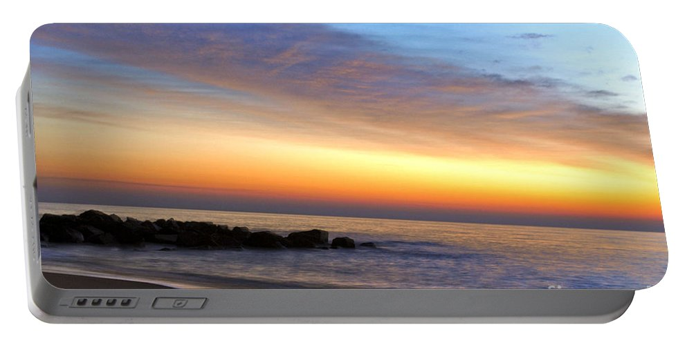 Jersey Shore Portable Battery Charger featuring the digital art Jersey Shore Sunrise by Danielle Summa