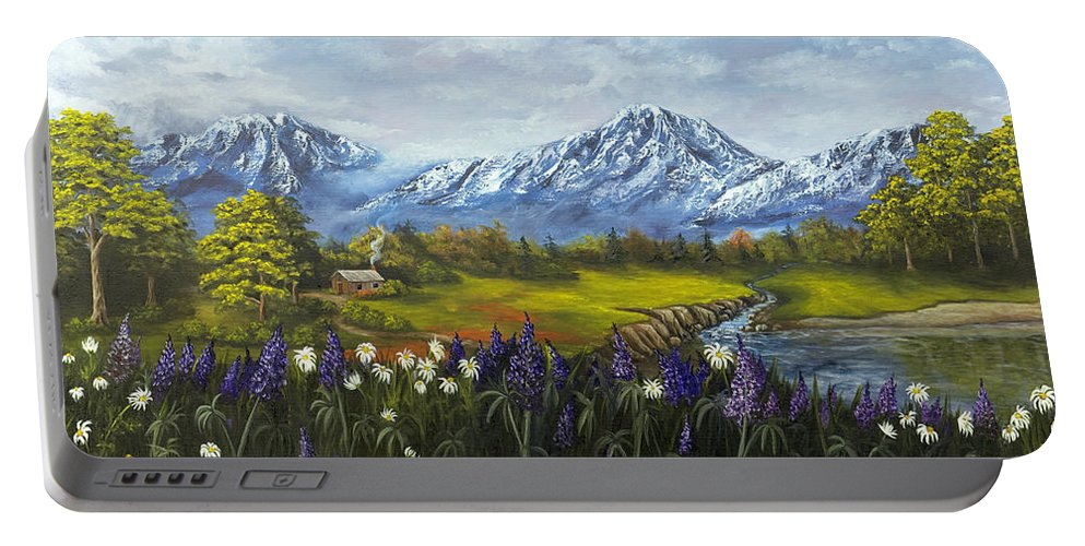 Landscape Portable Battery Charger featuring the painting Jessy's View by Darice Machel McGuire
