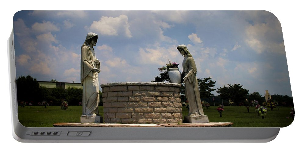 Jesus Portable Battery Charger featuring the photograph Jesus And The Woman At The Well Cemetery Statues by Kathy Clark