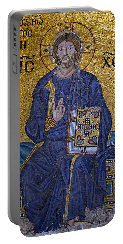 Ancient Portable Battery Charger featuring the photograph Jesus Christ Mosaic by Stephen Stookey