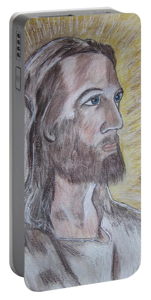 Jesus Portable Battery Charger featuring the painting Jesus by Kathy Marrs Chandler