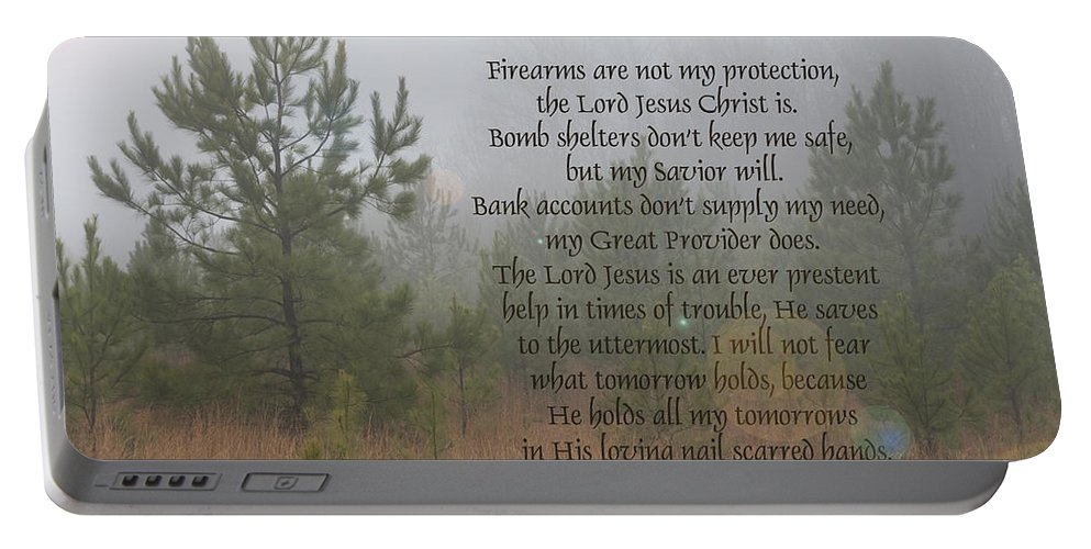 Jesus Portable Battery Charger featuring the photograph Jesus My Source Of All Things by Kathy Clark
