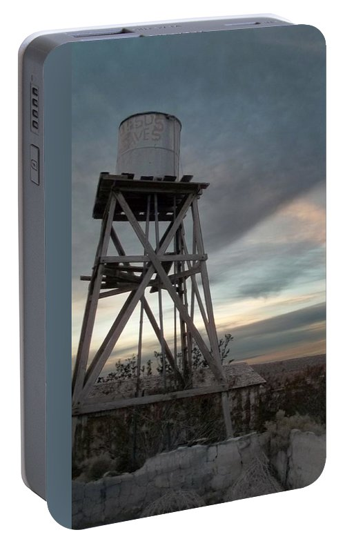 Watertower Portable Battery Charger featuring the photograph Jesus Saves Watertower - Route 66 by Glenn McCarthy Art and Photography