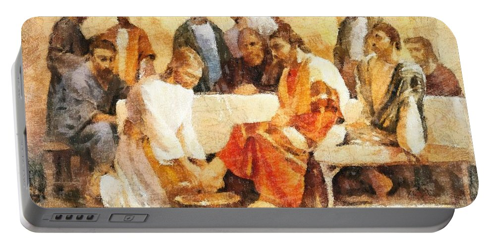 Jesus Washing Apostle's Feet Portable Battery Charger featuring the painting Jesus Washing Apostle's Feet by Dan Sproul