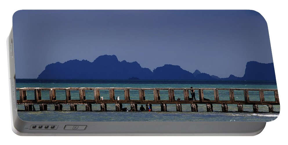 Ocean Portable Battery Charger featuring the photograph Jetty People Of Bang Saphan by Nola Lee Kelsey