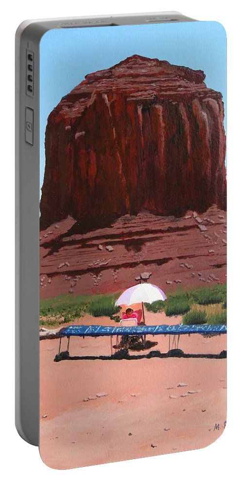 Navajo Portable Battery Charger featuring the painting Jewelry Seller by Mike Robles