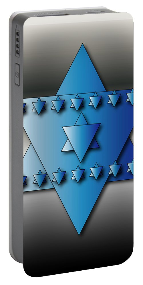 Hanukkah Portable Battery Charger featuring the digital art Jewish Stars by Marvin Blaine