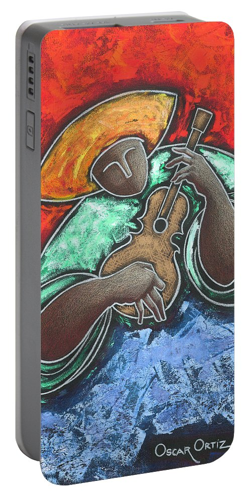 Puerto Rico Portable Battery Charger featuring the painting Jibaro Encendi'o by Oscar Ortiz