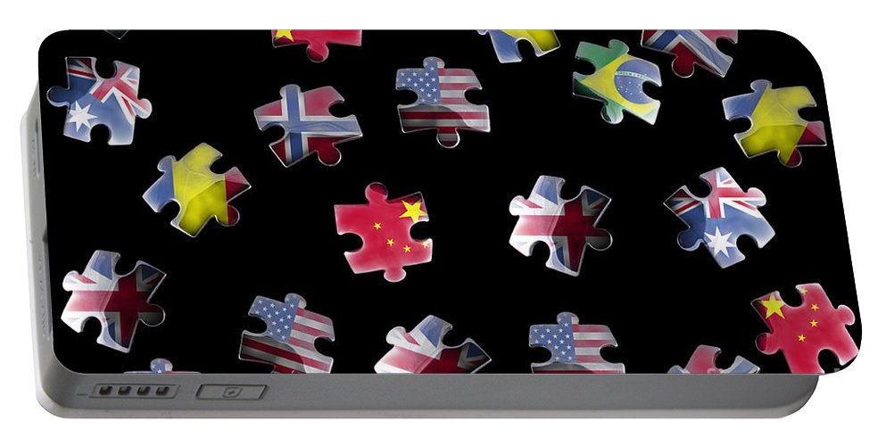 Flag Portable Battery Charger featuring the photograph Jigsaw Puzzle Flag Pieces by Simon Bratt Photography LRPS